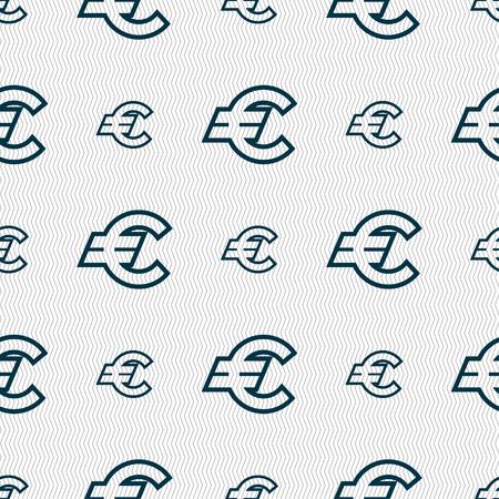eur: Euro EUR icon sign. Seamless pattern with geometric texture. illustration Stock Photo