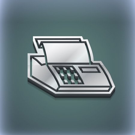 checkout line: Cash register machine icon symbol. 3D style. Trendy, modern design with space for your text illustration. Raster version Stock Photo