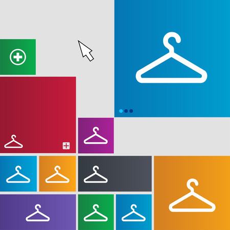 clothes hanger: clothes hanger icon sign. buttons. Modern interface website buttons with cursor pointer. illustration Stock Photo