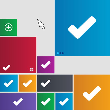 tik: Check mark, tik icon sign. Metro style buttons. Modern interface website buttons with cursor pointer. illustration Stock Photo