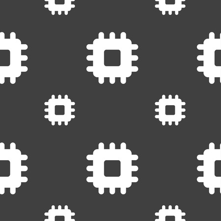accelerator: Central Processing Unit icon sign. Seamless pattern on a gray background. illustration Stock Photo