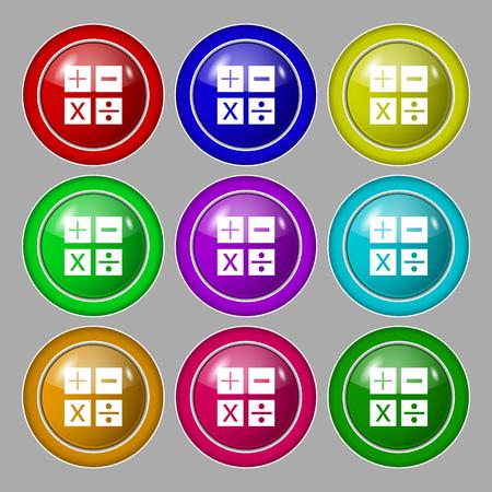 multiplicacion: Multiplicación, división, más, menos icon símbolo de matemáticas matemáticas. Símbolo de botones coloridos y nueve redondos. ilustración Foto de archivo