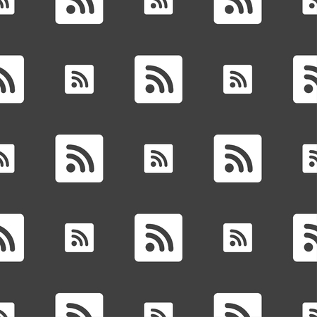 rss feed icon: RSS feed icon sign. Seamless pattern on a gray background. illustration