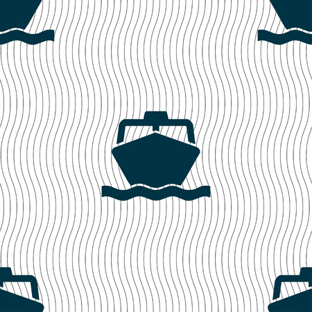 sea tanker ship: the boat icon sign. Seamless pattern with geometric texture. illustration Stock Photo