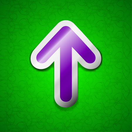 this side up: Arrow up, This side up icon sign. Symbol chic colored sticky label on green background. illustration