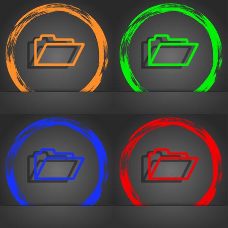 folder icon: Folder icon symbol. Fashionable modern style. In the orange, green, blue, green design. illustration