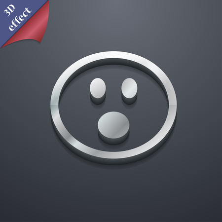horrify: Shocked Face Smiley icon symbol. 3D style. Trendy, modern design with space for your text illustration. Rastrized copy Stock Photo