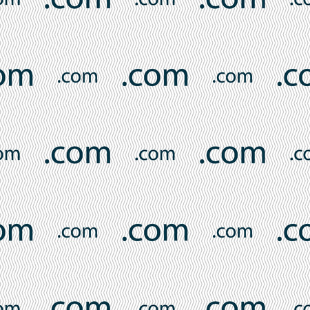 com: Domain COM sign icon. Top-level internet domain symbol. Seamless abstract background with geometric shapes. illustration