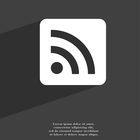 web feed: RSS feed icon symbol Flat modern web design with long shadow and space for your text. illustration