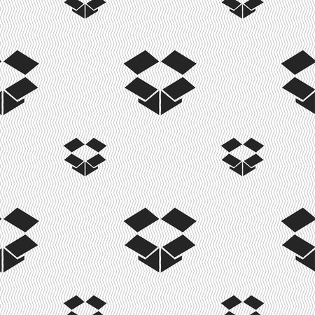 box open: open box icon sign. Seamless pattern with geometric texture. illustration