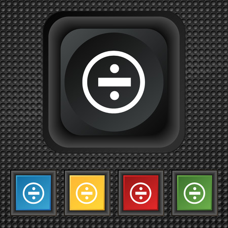 dividing: dividing icon sign. symbol Squared colourful buttons on black texture. illustration Stock Photo