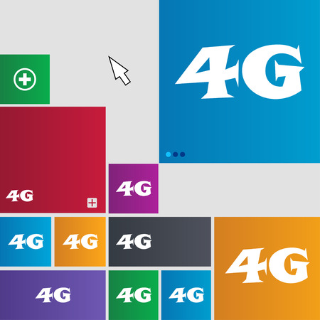 telecommunications: 4G sign icon. Mobile telecommunications technology symbol. Set of colour buttons. illustration