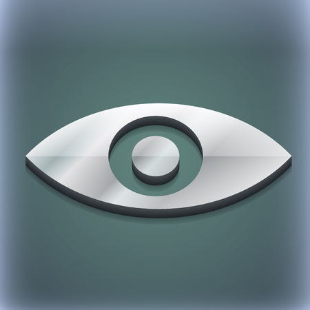intuition: Eye, Publish content, sixth sense, intuition icon symbol. 3D style. Trendy, modern design with space for your text illustration. Raster version Stock Photo