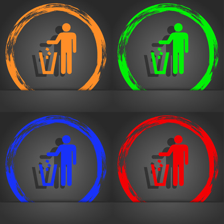 throw away: throw away the trash icon symbol. Fashionable modern style. In the orange, green, blue, green design. illustration