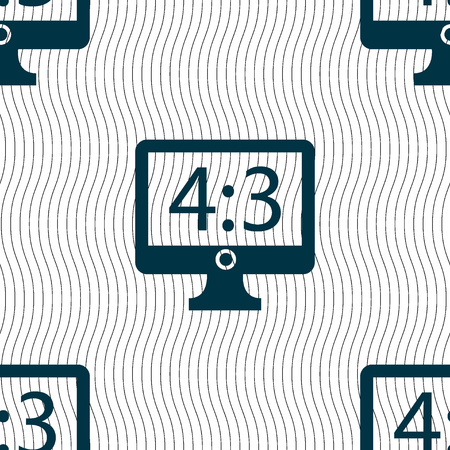 aspect: Aspect ratio 4 3 widescreen tv icon sign. Seamless pattern with geometric texture. illustration
