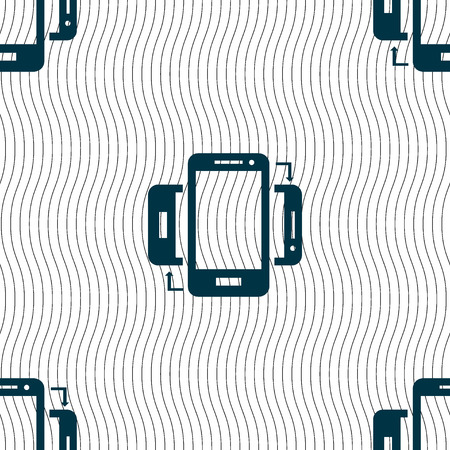 data synchronization: Synchronization sign icon. smartphones sync symbol. Data exchange. Seamless pattern with geometric texture. illustration