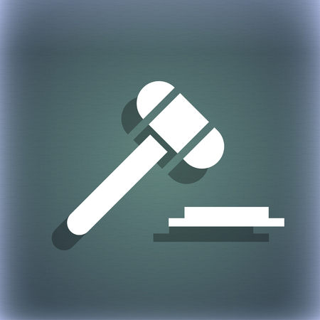arbitrate: judge hammer icon. On the blue-green abstract background with shadow and space for your text. illustration Stock Photo