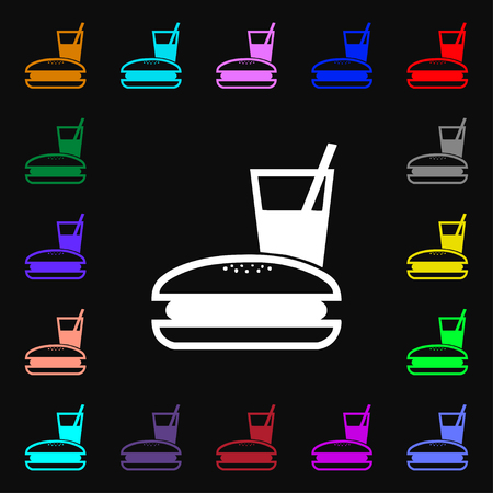lunch box: lunch box icon sign. Lots of colorful symbols for your design. illustration Stock Photo