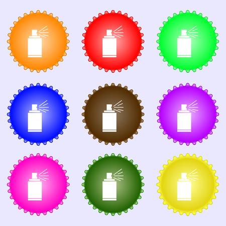 aerosol: Graffiti spray can sign icon. Aerosol paint symbol. A set of nine different colored labels. illustration