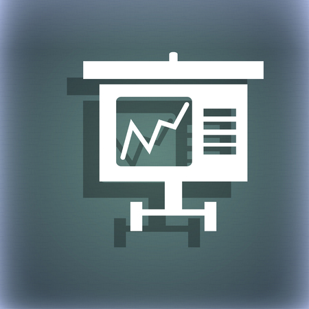 bluegreen: Graph icon sign. On the blue-green abstract background with shadow and space for your text. illustration