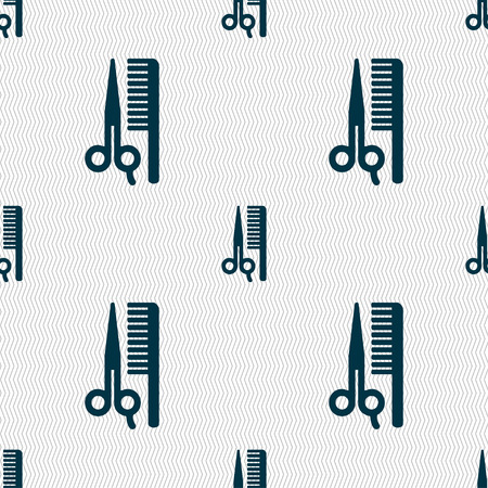 coiffeur: hair icon sign. Seamless pattern with geometric texture. illustration Stock Photo