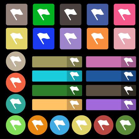 abort: Finish, start flag icon sign. Set from twenty seven multicolored flat buttons. illustration