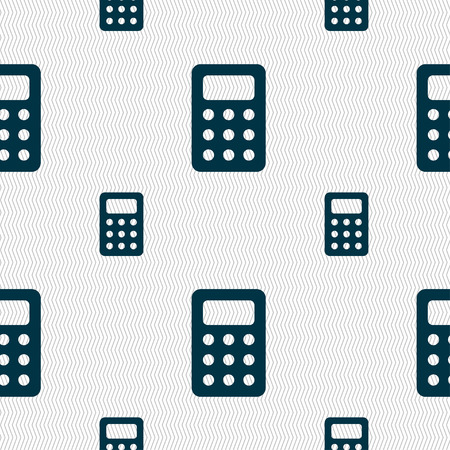 bookkeeping: Calculator, Bookkeeping icon sign. Seamless pattern with geometric texture. illustration