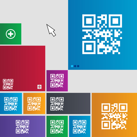 Qr code icon sign. buttons. Modern interface website buttons with cursor pointer. illustration