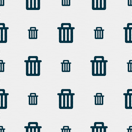 utilize: Recycle bin icon sign. Seamless pattern with geometric texture. illustration Stock Photo