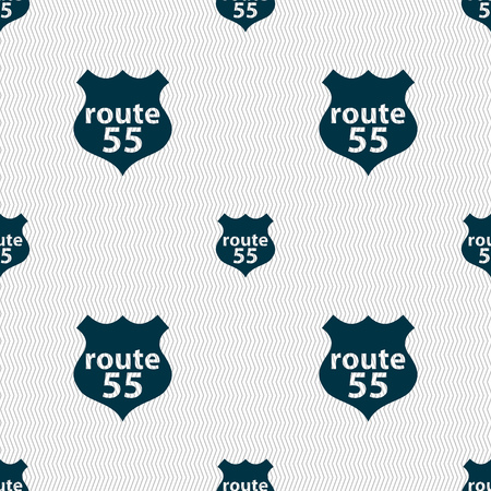 highway icon: Route 55 highway icon sign. Seamless abstract background with geometric shapes. illustration