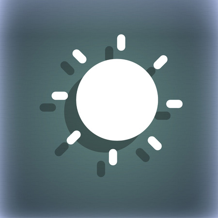 bluegreen: Sun icon symbol on the blue-green abstract background with shadow and space for your text. illustration