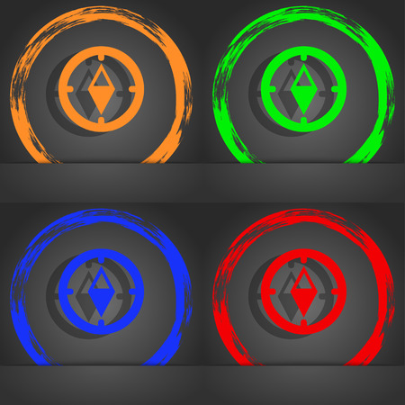 windrose: Compass sign icon. Windrose navigation symbol. Fashionable modern style. In the orange, green, blue, red design. illustration
