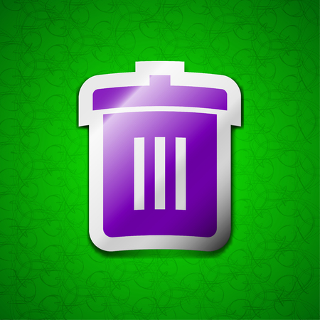reduce: Recycle bin, Reuse or reduce icon sign. Symbol chic colored sticky label on green background. illustration Stock Photo