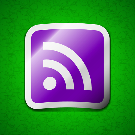 rss feed icon: RSS feed icon sign. Symbol chic colored sticky label on green background. illustration