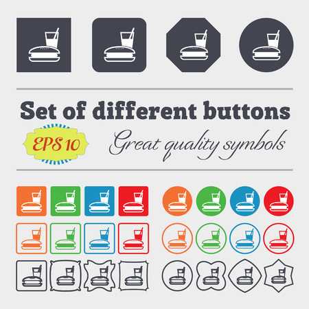 chinese takeout box: lunch box icon sign. Big set of colorful, diverse, high-quality buttons. illustration Stock Photo