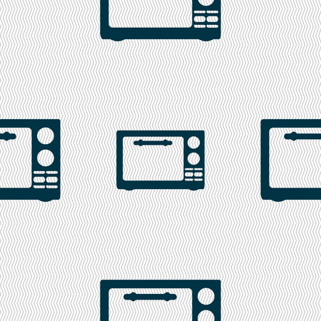 microwave stove: Microwave oven sign icon. Kitchen electric stove symbol. Seamless abstract background with geometric shapes. illustration