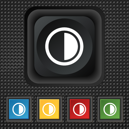 contrast: contrast icon sign. symbol Squared colourful buttons on black texture. illustration