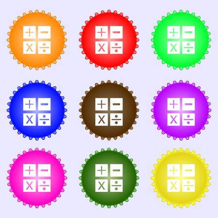 multiplicacion: Multiplicaci�n, divisi�n, m�s, menos icon s�mbolo de matem�ticas matem�ticas. Un conjunto de nueve etiquetas de colores diferentes. ilustraci�n Foto de archivo