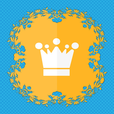 upper class: Crown icon sign. Floral flat design on a blue abstract background with place for your text. illustration