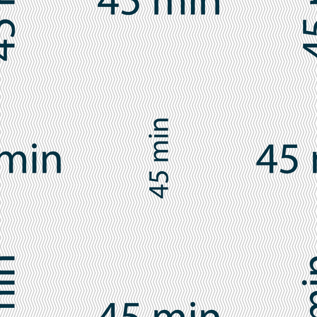 minutes: 45 minutes sign icon. Seamless abstract background with geometric shapes. illustration Stock Photo