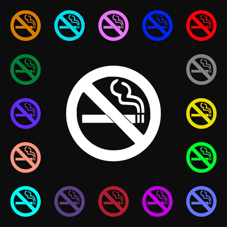 pernicious habit: no smoking icon sign. Lots of colorful symbols for your design. illustration Stock Photo