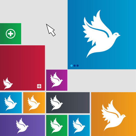 spiritual: Dove icon sign. buttons. Modern interface website buttons with cursor pointer. illustration Stock Photo