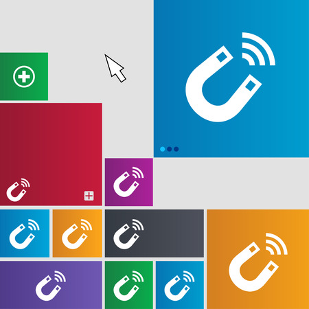 electromagnetism: Magnet icon sign. buttons. Modern interface website buttons with cursor pointer. illustration