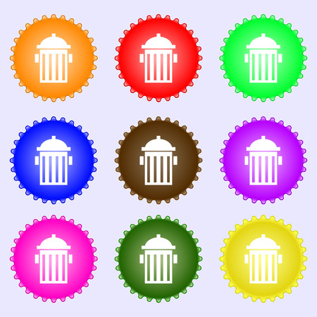 fire plug: fire hydrant icon sign. A set of nine different colored labels. illustration
