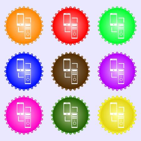synchronization: Synchronization sign icon. communicators sync symbol. Data exchange. A set of nine different colored labels. illustration Stock Photo