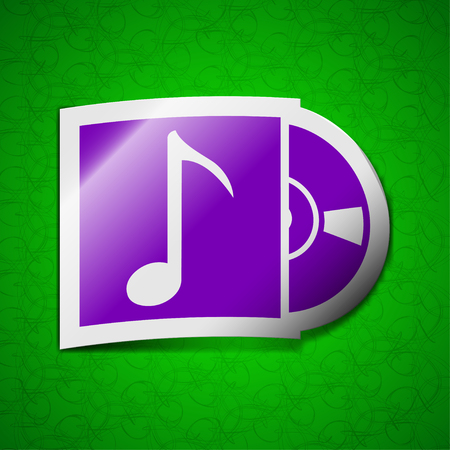 cd player: cd player icon sign. Symbol chic colored sticky label on green background. illustration Stock Photo