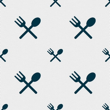 crosswise: Fork and spoon crosswise, Cutlery, Eat icon sign. Seamless abstract background with geometric shapes. illustration