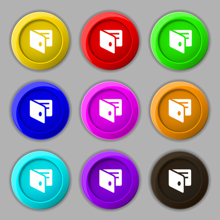 card holder: eWallet, Electronic wallet, Business Card Holder icon sign. symbol on nine round colourful buttons. illustration