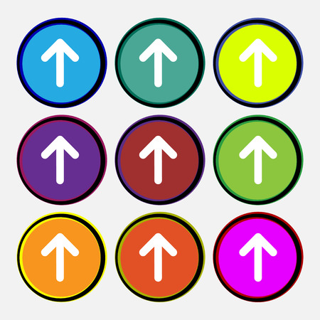 this side up: Arrow up, This side up icon sign. Nine multi-colored round buttons. illustration