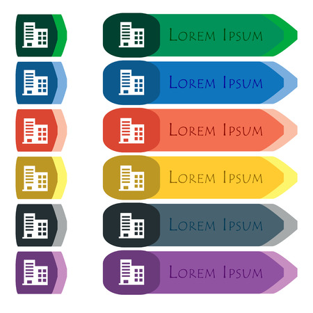 highrise: high-rise commercial buildings and residential apartments icon sign. Set of colorful, bright long buttons with additional small modules. Flat design.